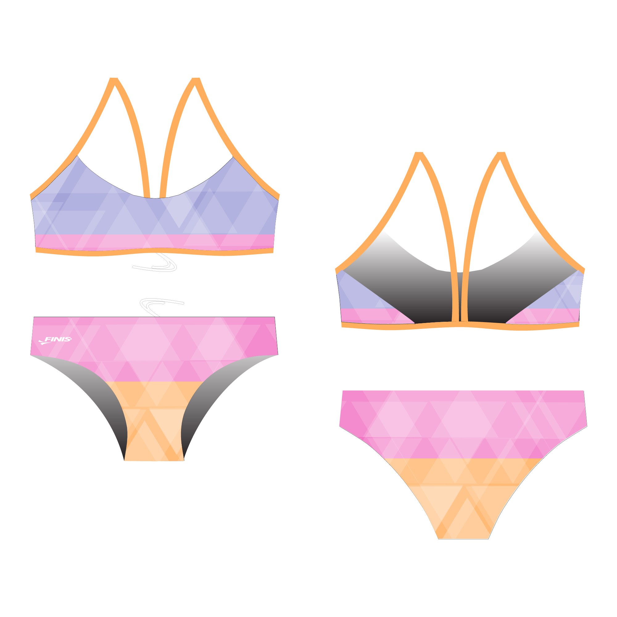 Triangular germetric design in pastal colors on a finis custom bikini open back swimsuit proof.