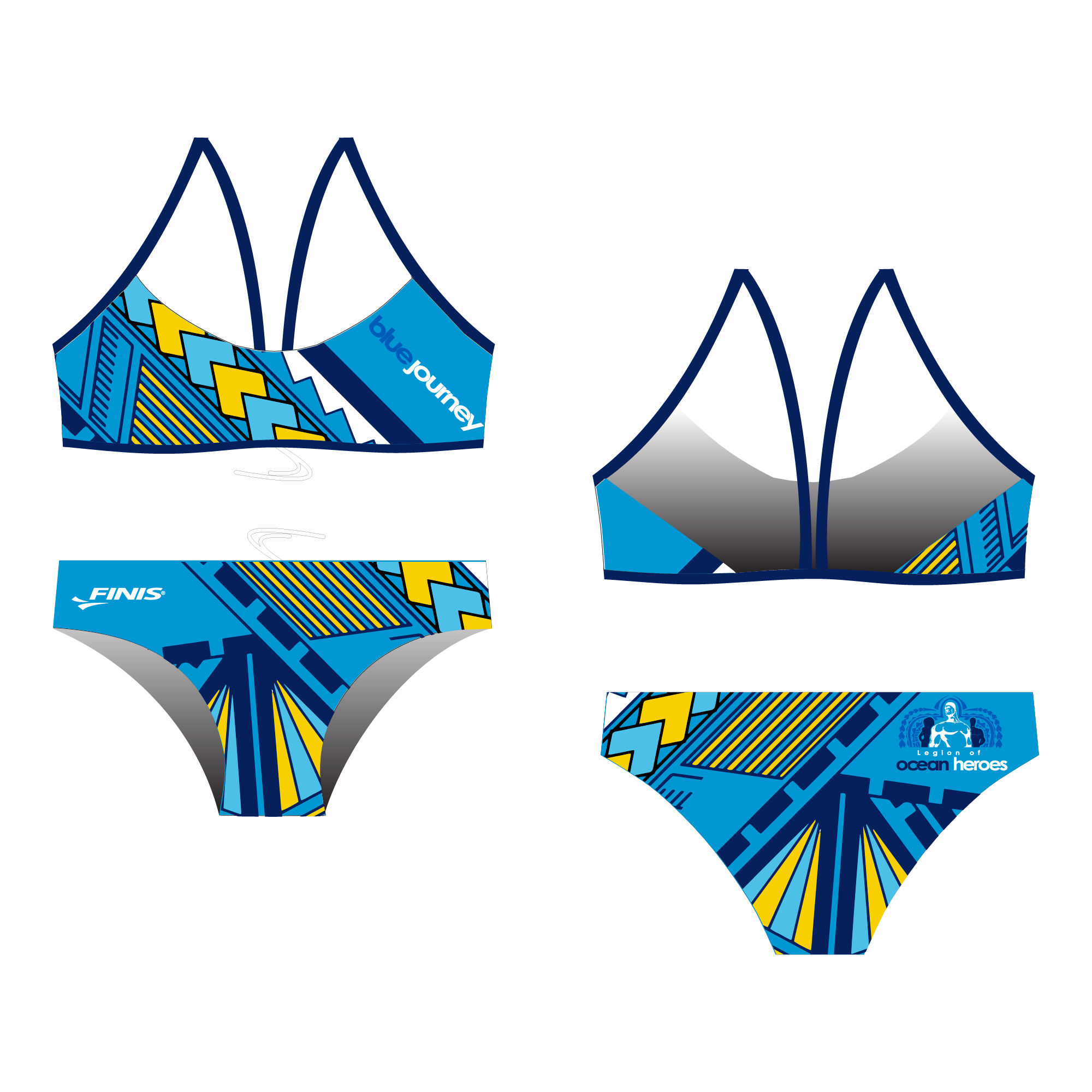 Legion of oxean heros blue journey design on a finis custom bikini open back swimsuit back.