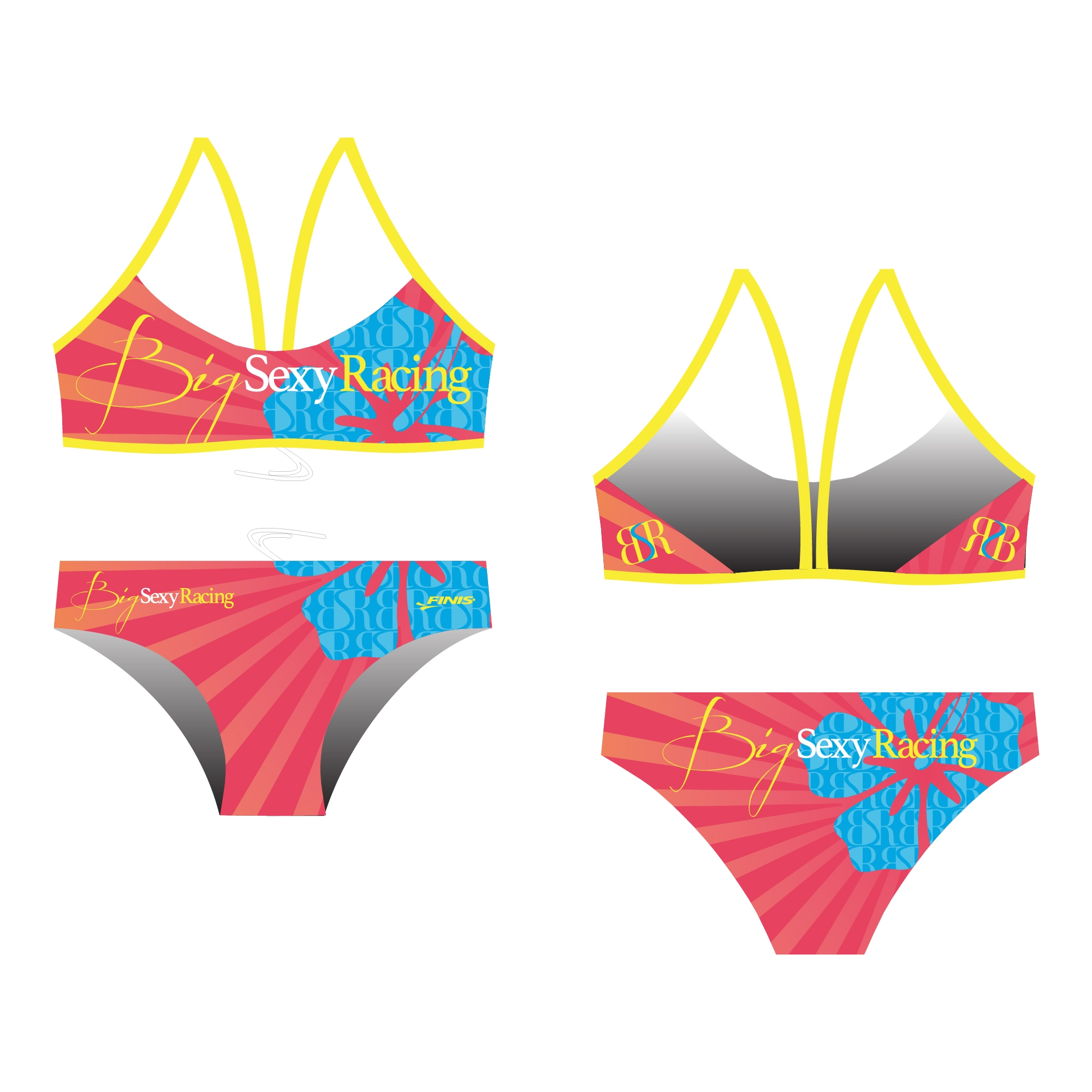 Big Sexy Racing swimming club custom finis bikini open back proof with a haiwaian flower.