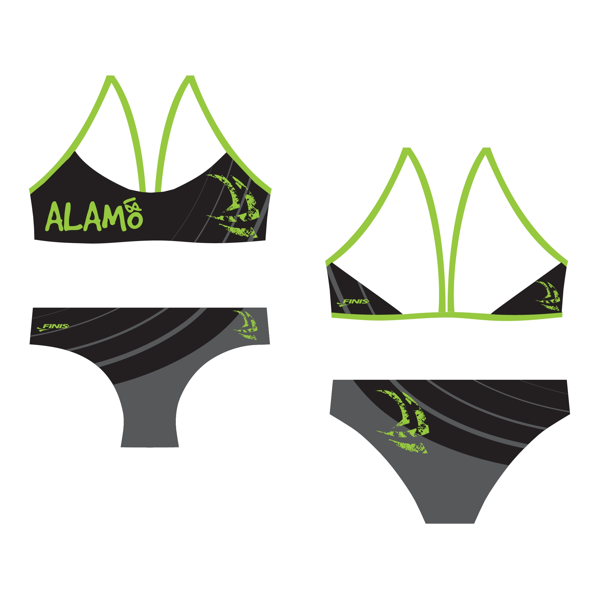 Alamo swim club custom finis bikini open back proof in lime green, black, and gray design.