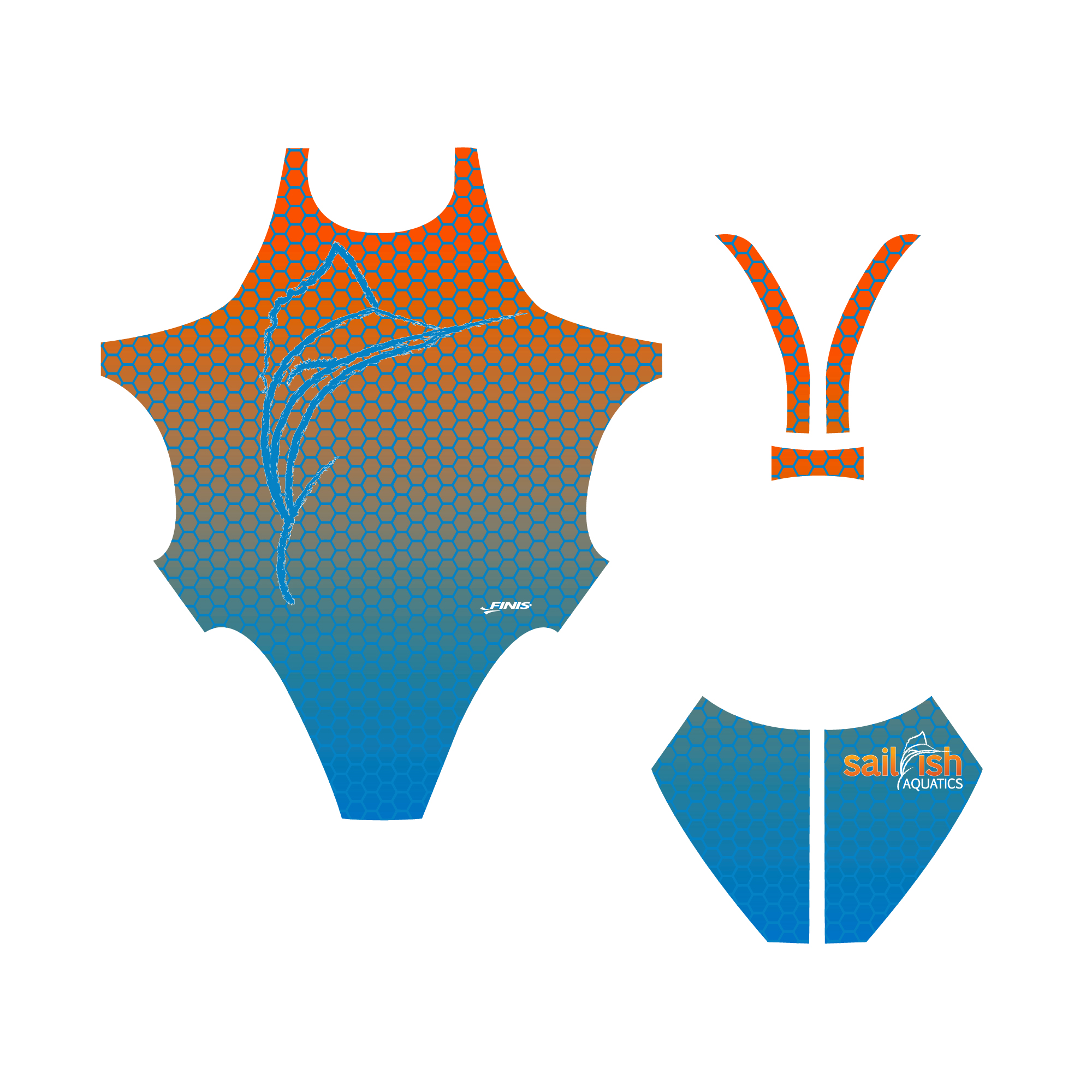 Sailfish aquatics custom blade back finis swim suit proof