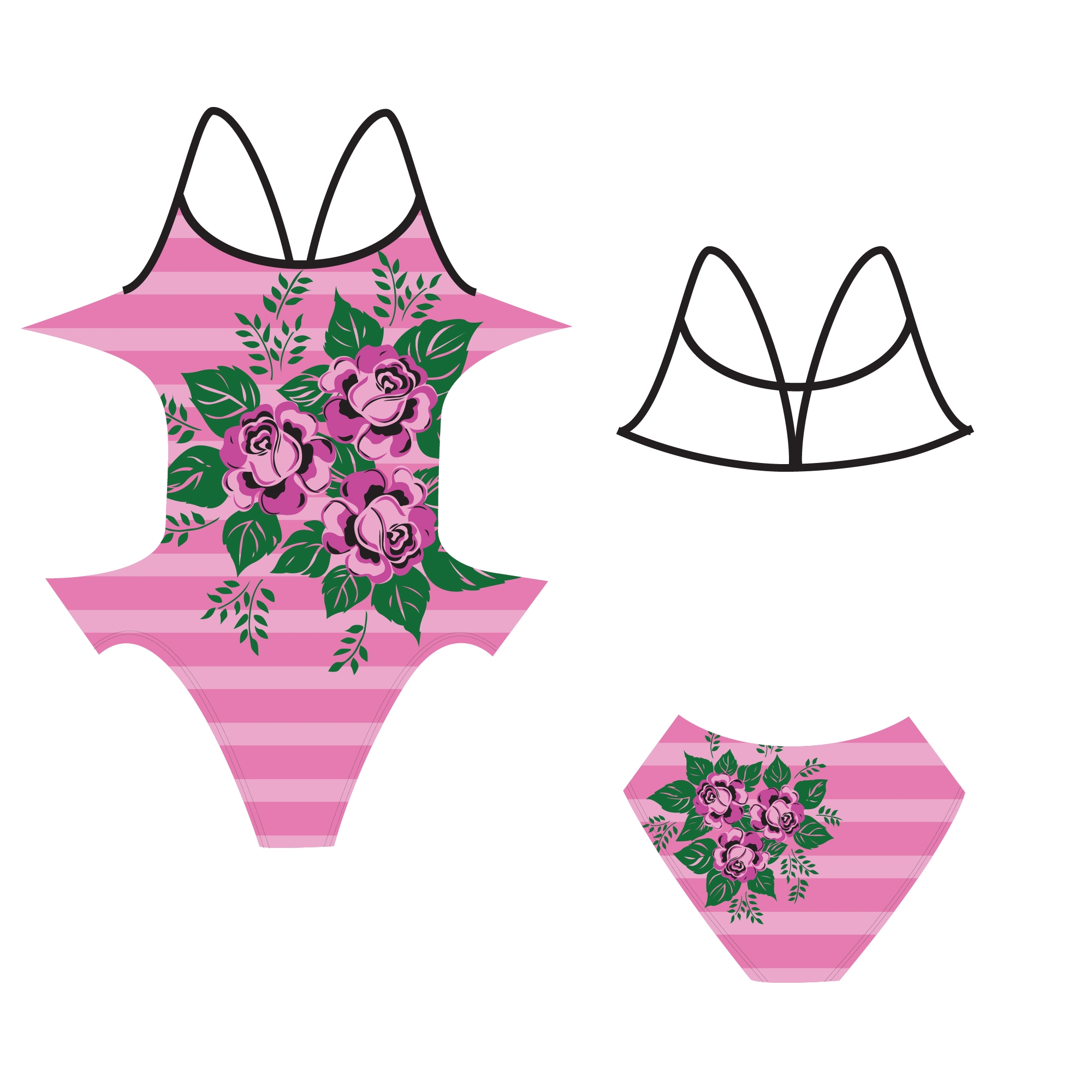 Pink finis custom openback swimsuit with flowers on