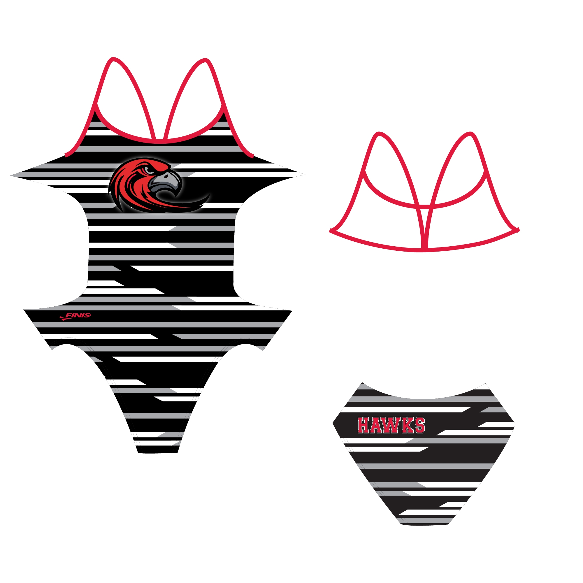 Hawks swimming club custom finis swimsuit proof