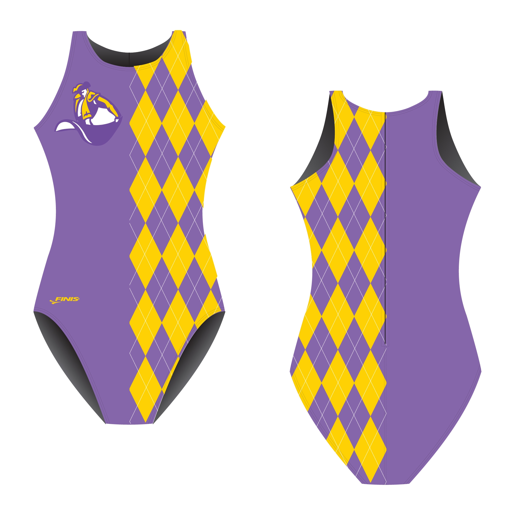 purple water polo swim suit with yellow triangles design on a finis custom proof with a matador logo