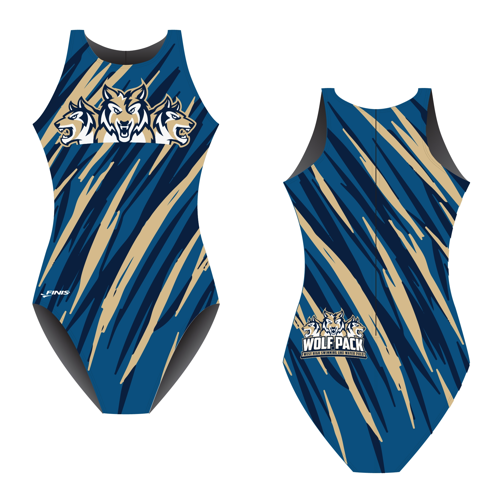 West High swimming and water polo team Wolf pack design proof on a finis custom water polo swimsuit