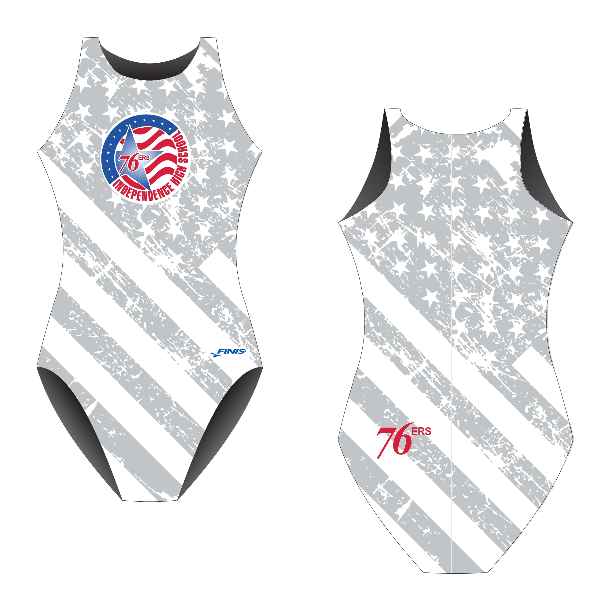 76ers Independece high school water polo design proof on finis custom swimsuit