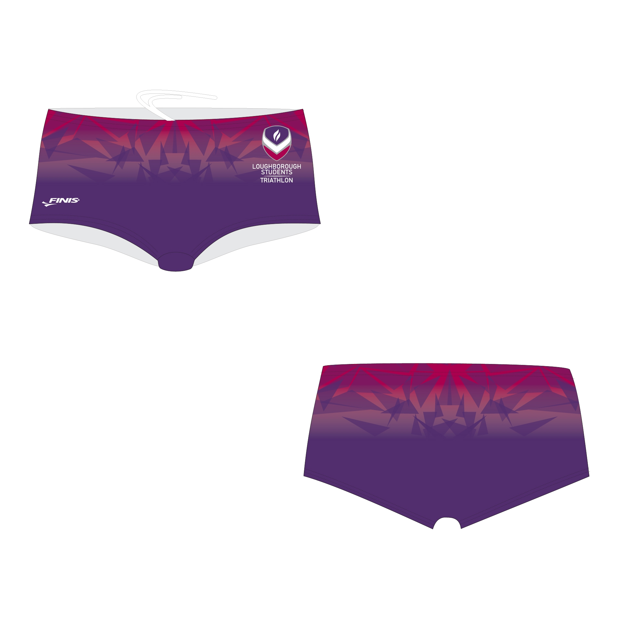 Loughborough students triathlon aqua short design proof with geometric mountains on a custom finis proof