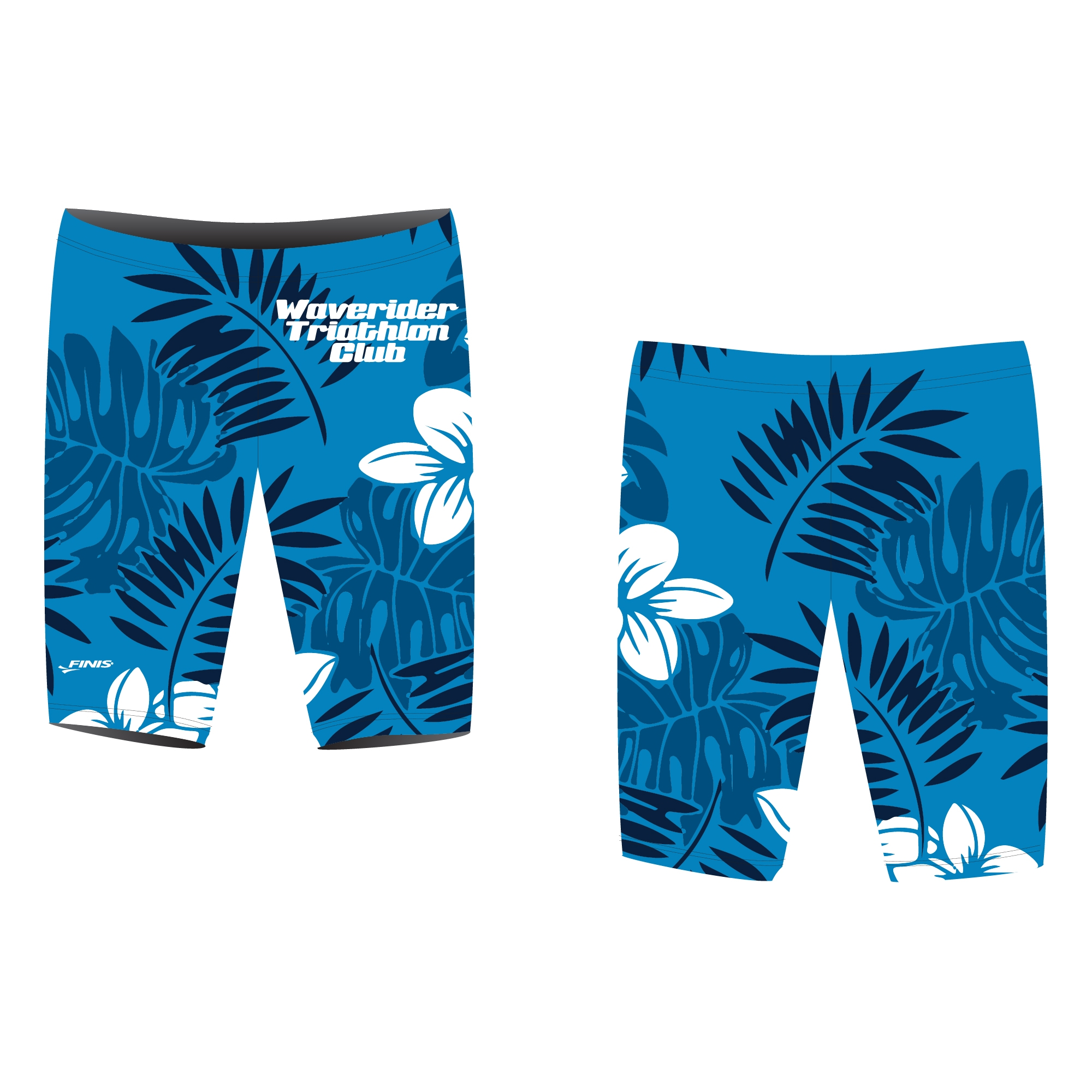 Waverider Triathlon Club custom finis jammer swimsuit proof with hawaian ferns and flowers on it