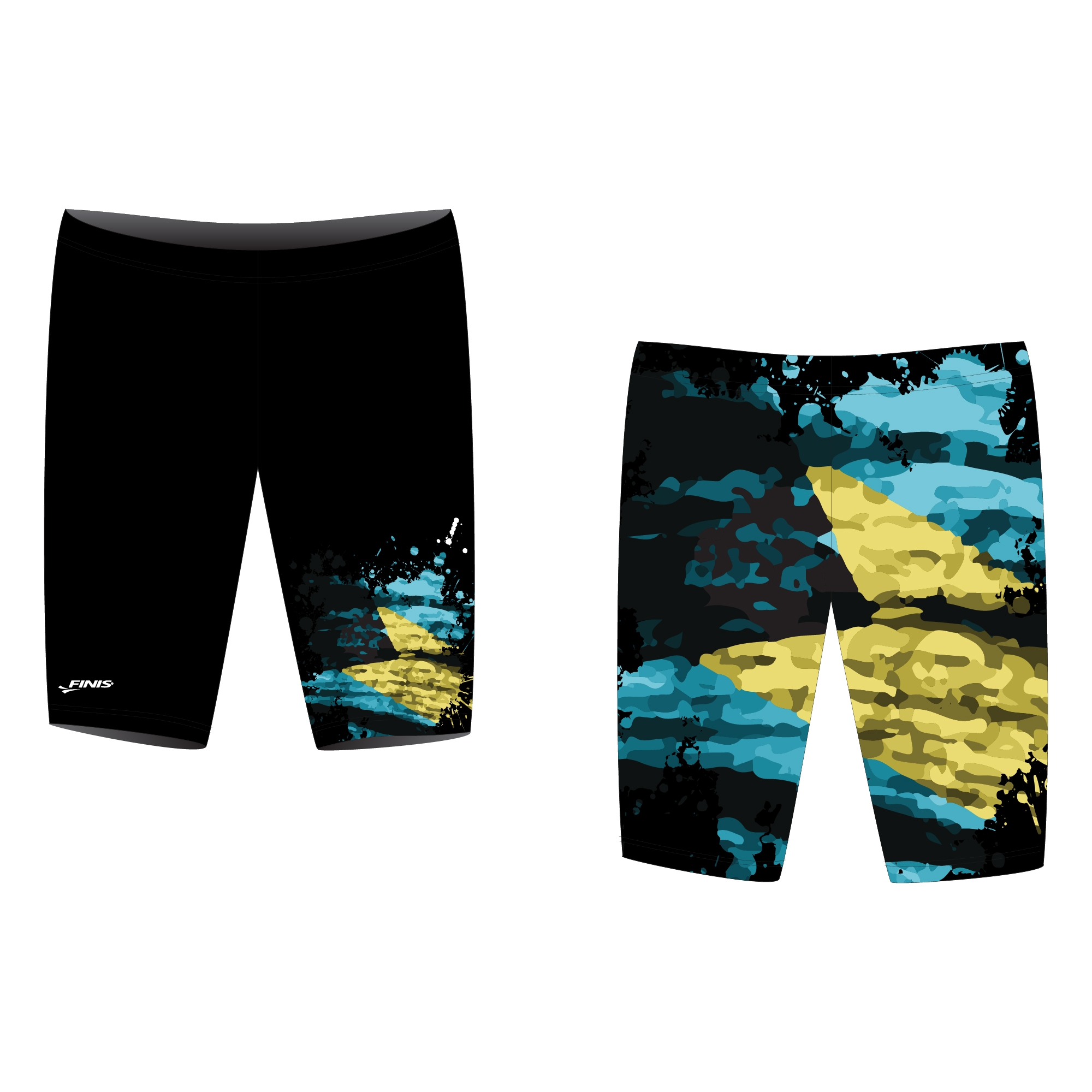 Black finis custom jammer swimsuit proof with hazy paint splatter design, colors include yellow and cyan