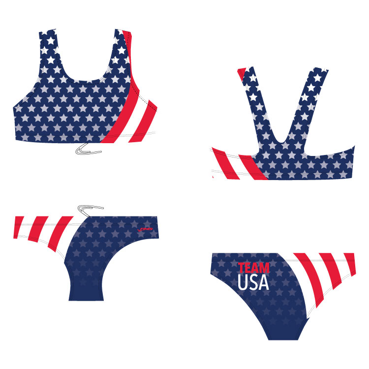 Team USA bikini blade back custom finis swimsuit with an american flag design