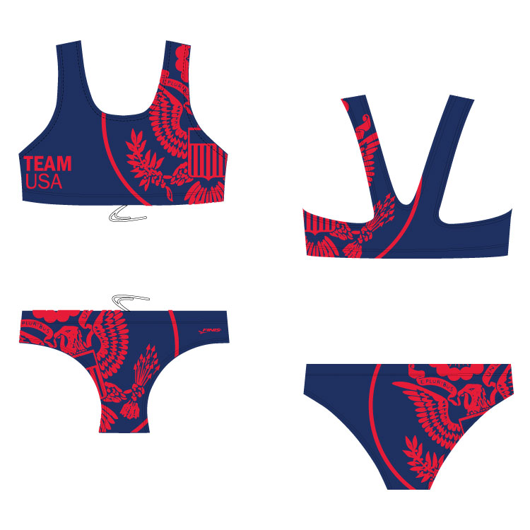 Team USA bikini blade back custom finis swimsuit with the United States congress design