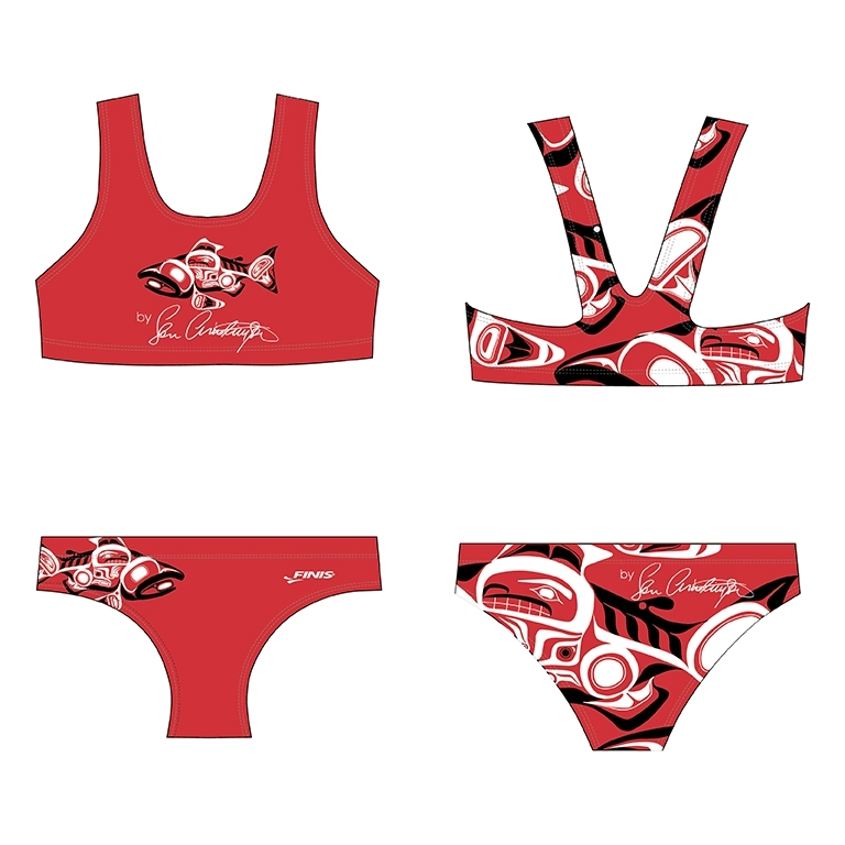 Custom finis bikini blade back swimsuit with a salmon salmon and the front and a close of a salmon on the back in a native american design