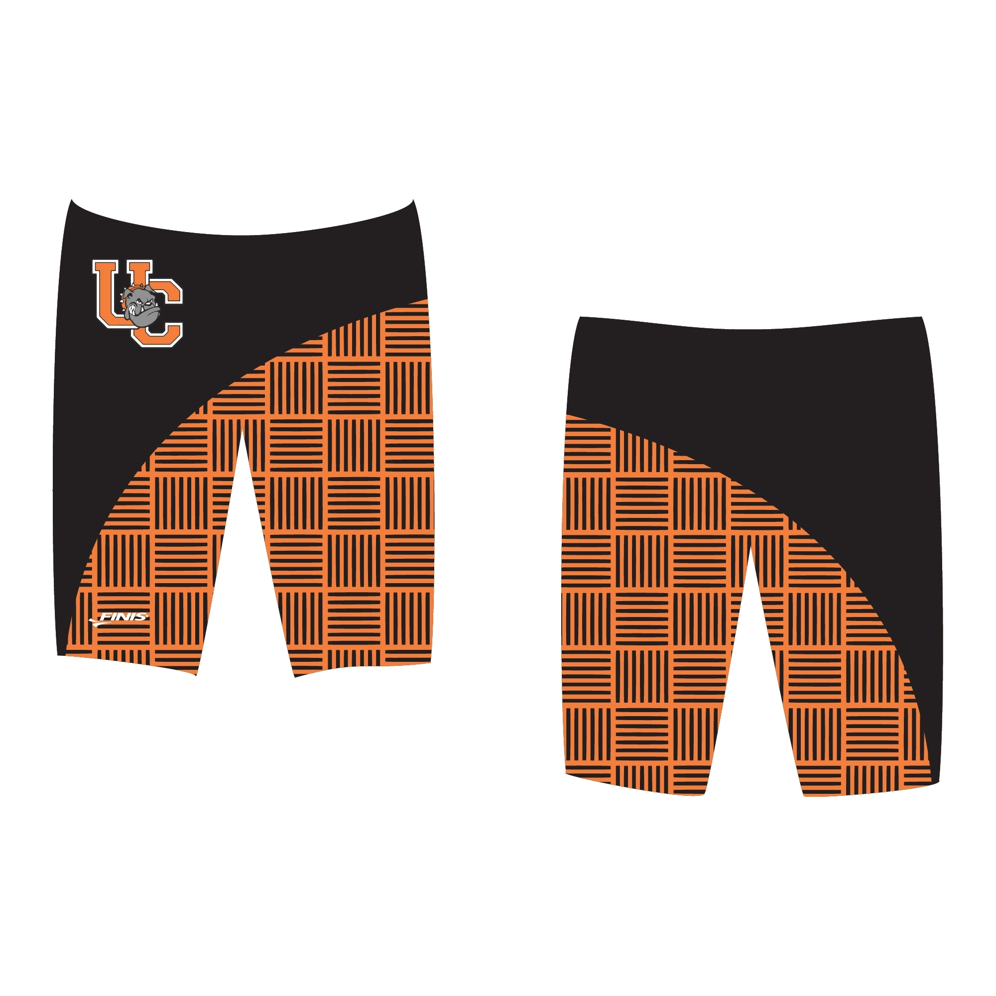 UC bull dog mascot swimsuit on a finis custom jammer swimsuit proof
